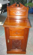 Victorian Walnut Bedside Cabinet with Carved back C1890 Victorian Walnut Bedside Cabinet with Carved back C1890