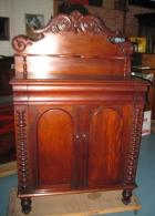 Lovely Victorian Cedar Chiffonier with profusely carved backboard C1880 Lovely Victorian Cedar Chiffonier with profusely carved backboard C1880